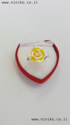 טבעת פרח לילדות בצבע צהוב
