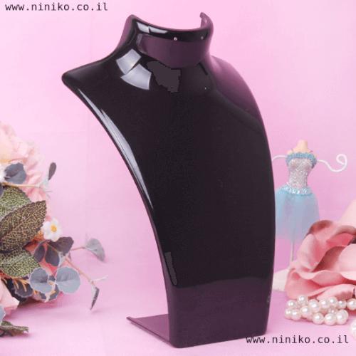 סטנד לשרשראות ועגילים מפלסטיק בצבע שחור