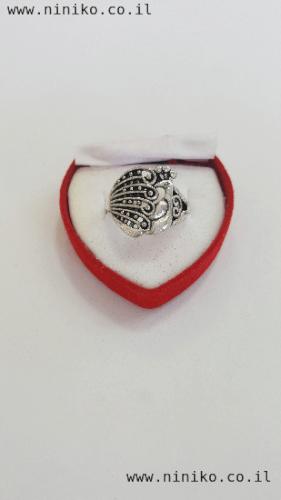 טבעת כסופה בסגנון ווינטג'  טווס