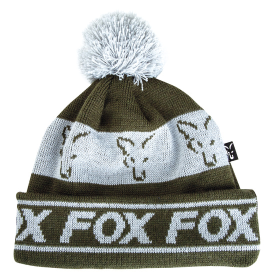 Fox Green & Silver Lined Bobble