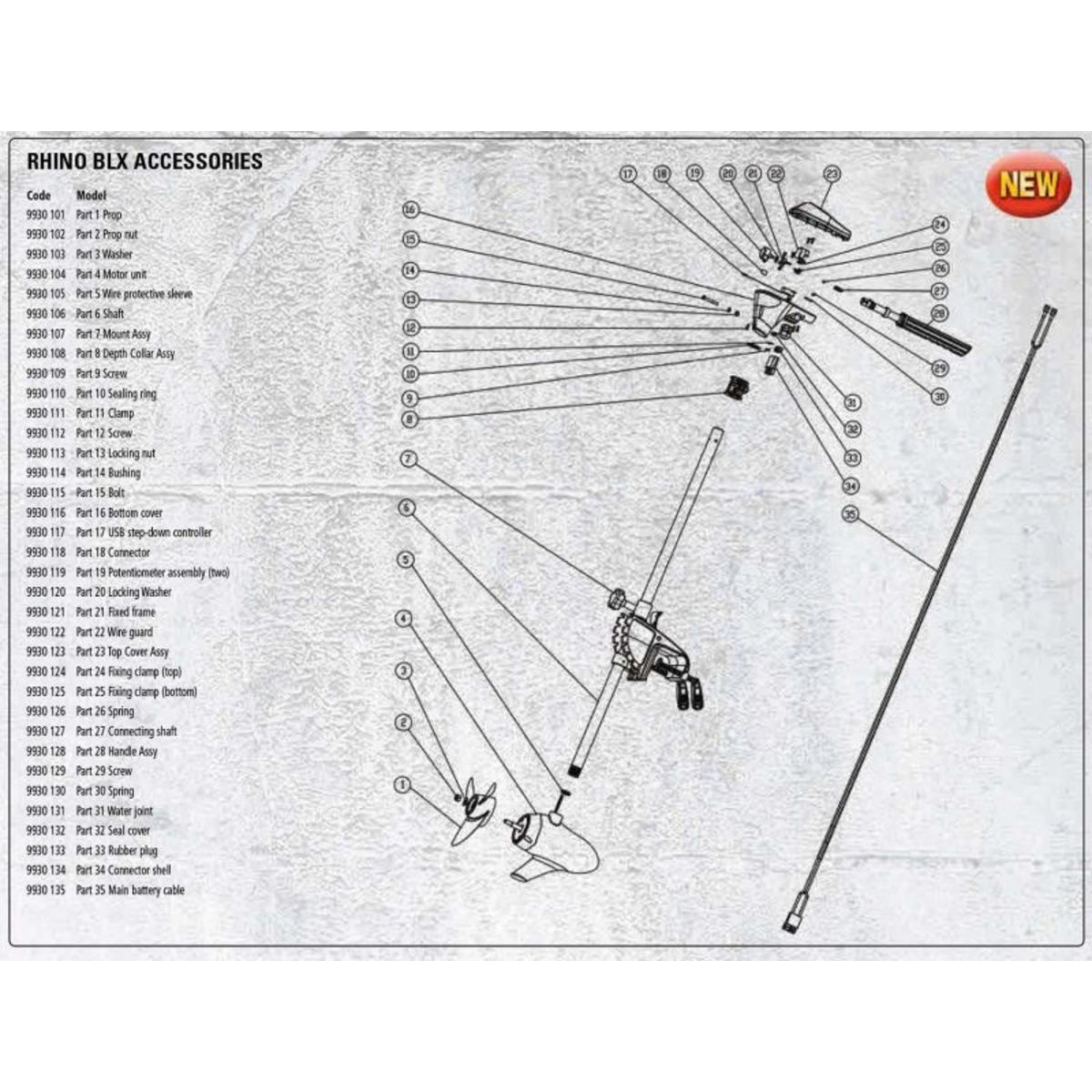 Rhino Accessori Ricambio BLX 70 Electric Outboard Motor - Screw - Teil 29