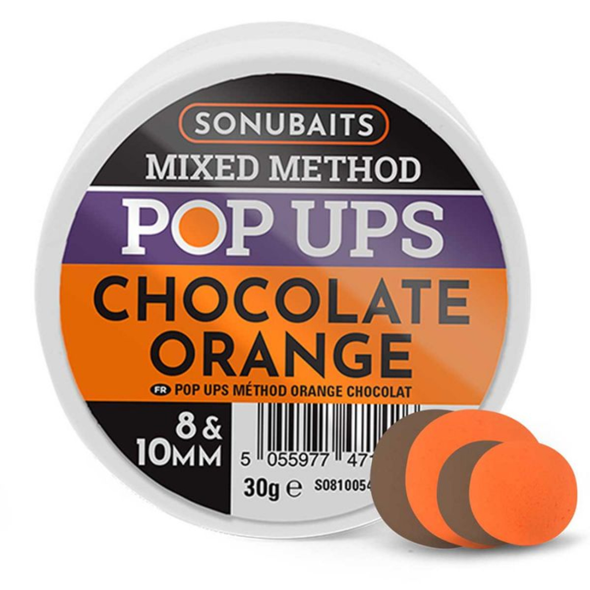 Sonubaits Mixed Method Pop Ups - 8 - 10 mm - Cioccolato - Arancia
