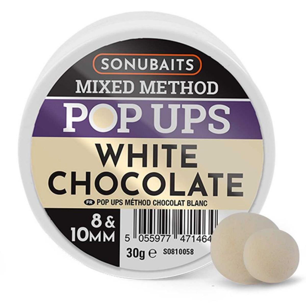 Sonubaits Mixed Method Pop Ups - 8 - 10 mm - Cioccolato Bianco