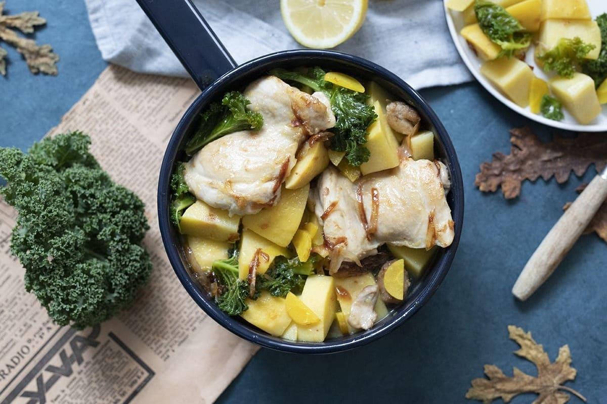 Cocotte de hauts de cuisse de poulet et légumes d'antan