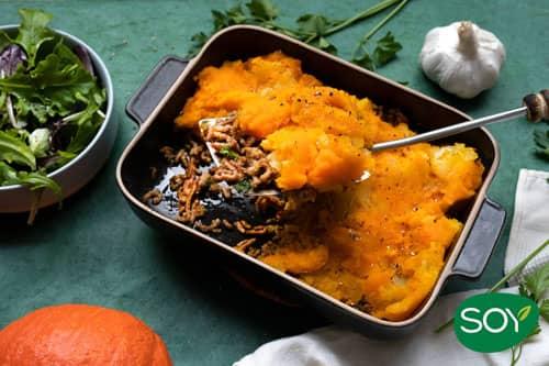 Parmentier au haché végétal au potimarron et pistou de persil