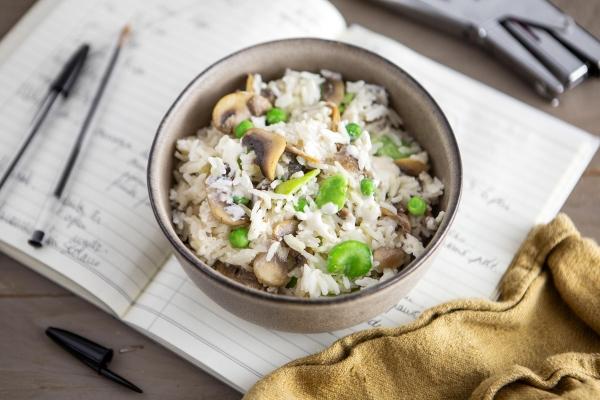 Risotto aux champignons, fèves et petits pois