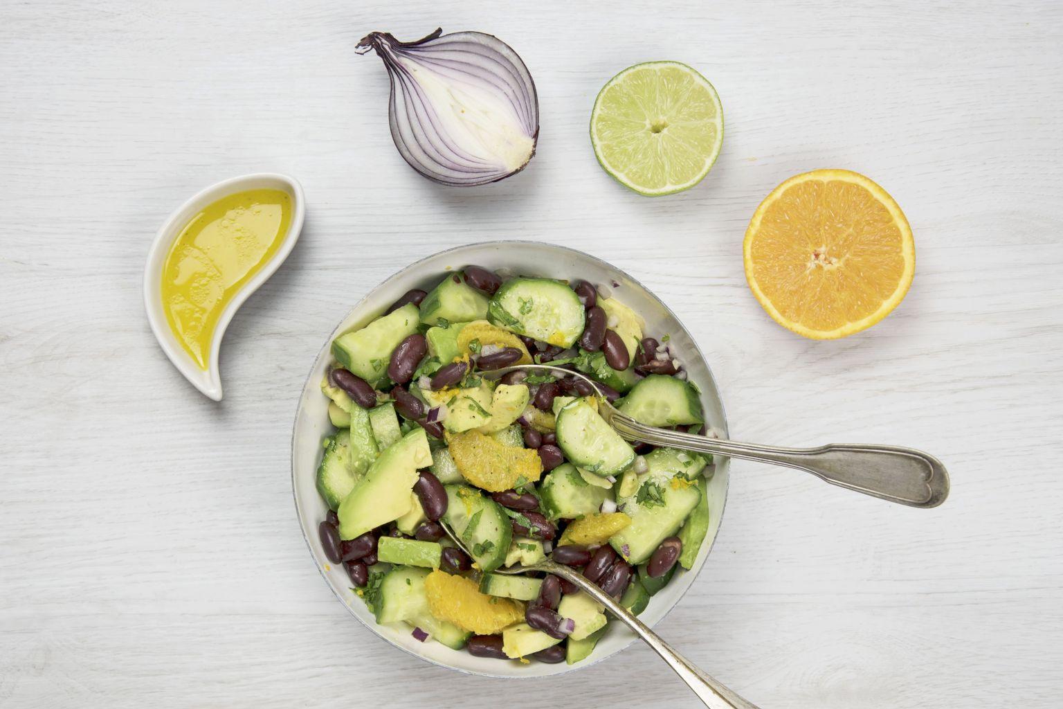 Recette salade d 39 avocat haricots rouges et orange quitoque - Comment cuisiner des haricots rouges ...