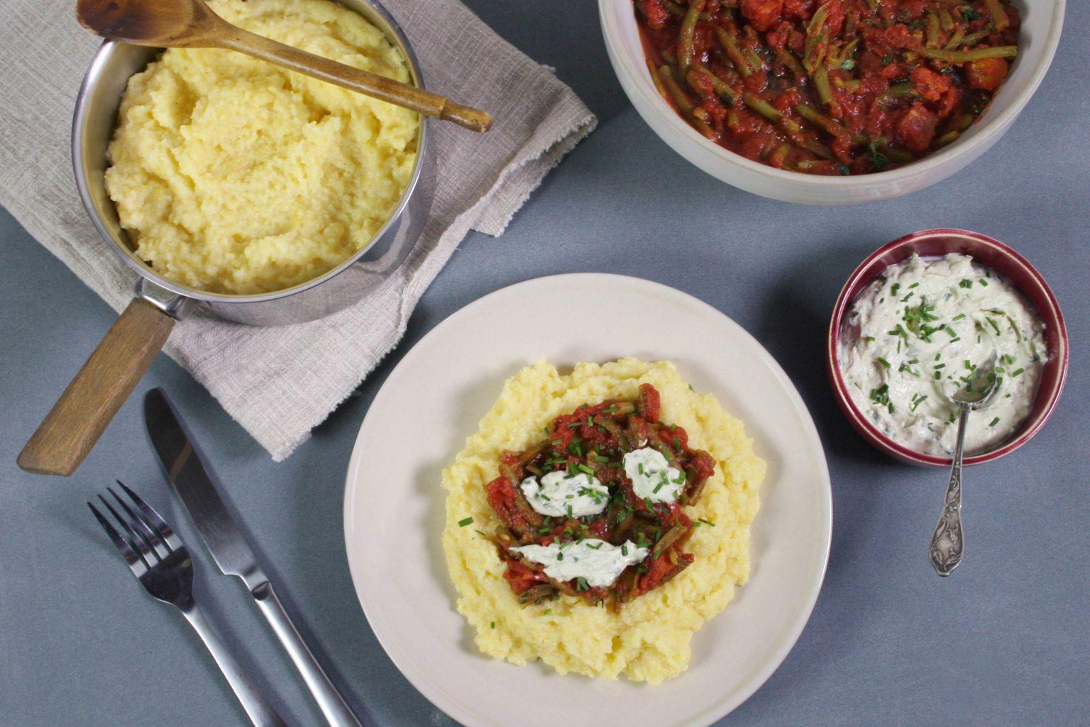 Recette polenta moelleuse la sauce tomate et fromage frais quitoque - Comment cuisiner les germes de soja frais ...