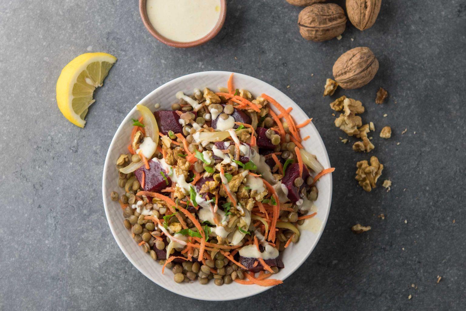 Recette salade de lentilles blondes betteraves et noix la moutarde quitoque - Comment cuisiner des lentilles blondes ...