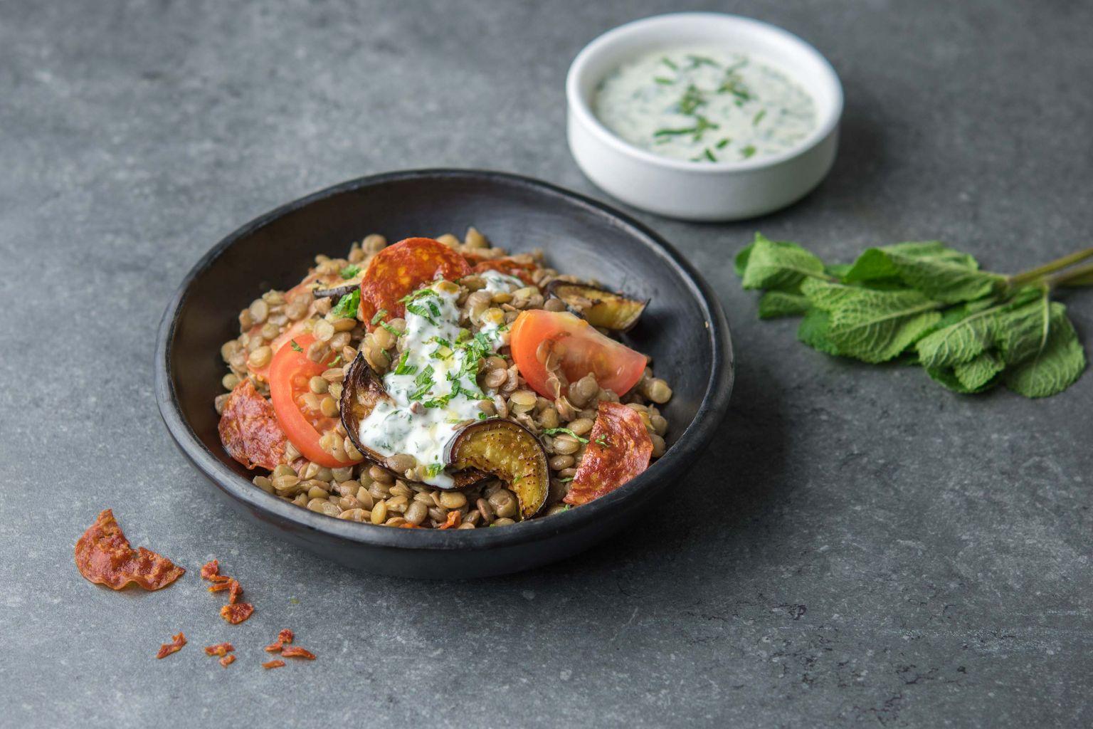 Recette salade de lentilles blondes l 39 aubergine et chorizo quitoque - Comment cuisiner des lentilles blondes ...