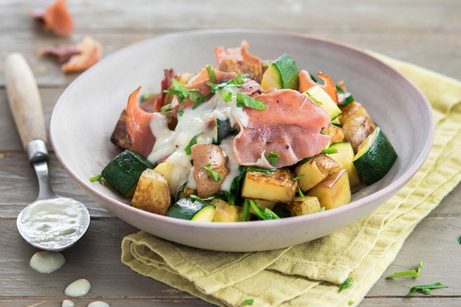 Poêlée de pommes de terre au jambon croustillant
