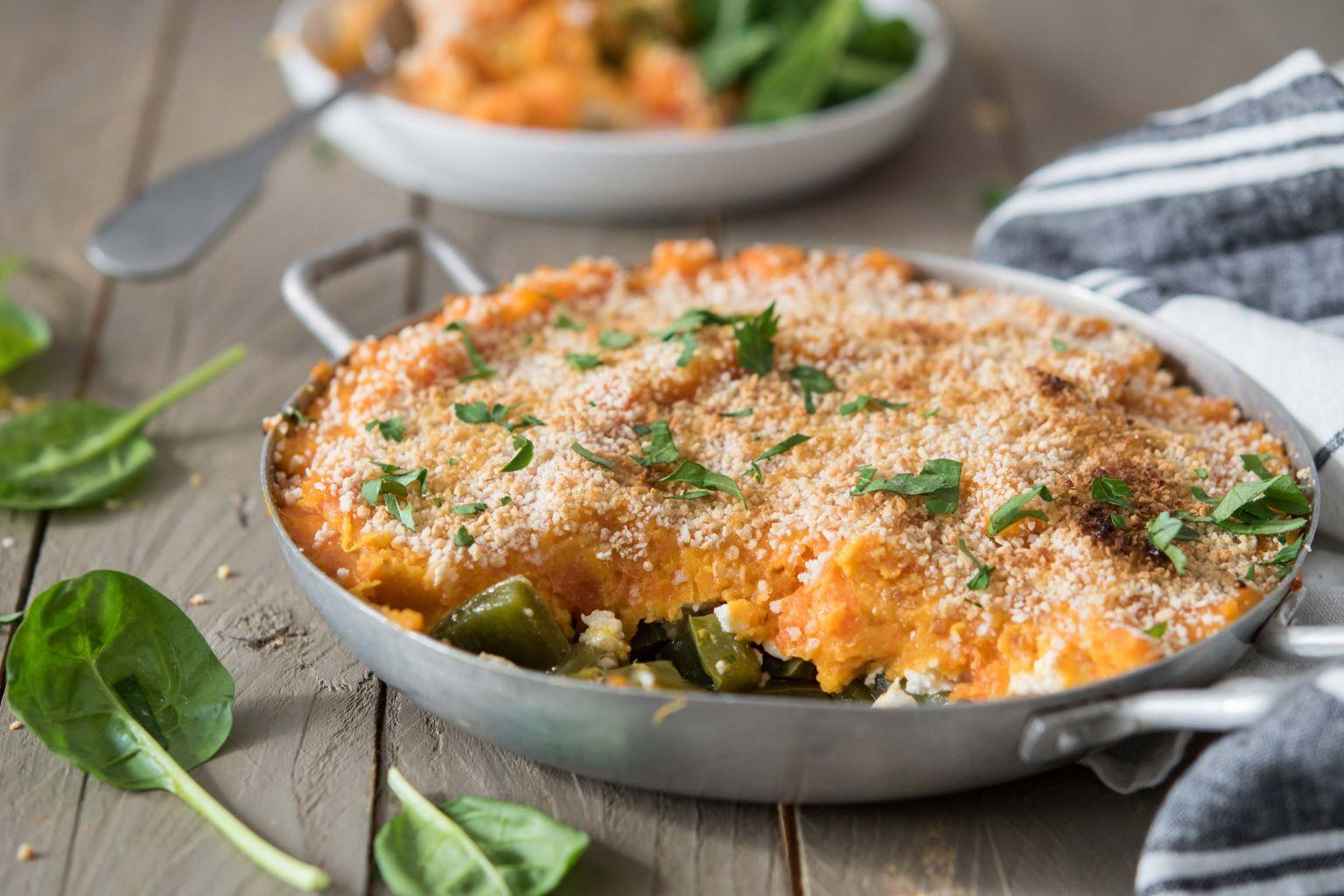 Recette parmentier de patate douce au poivron et la f ta quitoque - Comment cuisiner la patate douce a la poele ...
