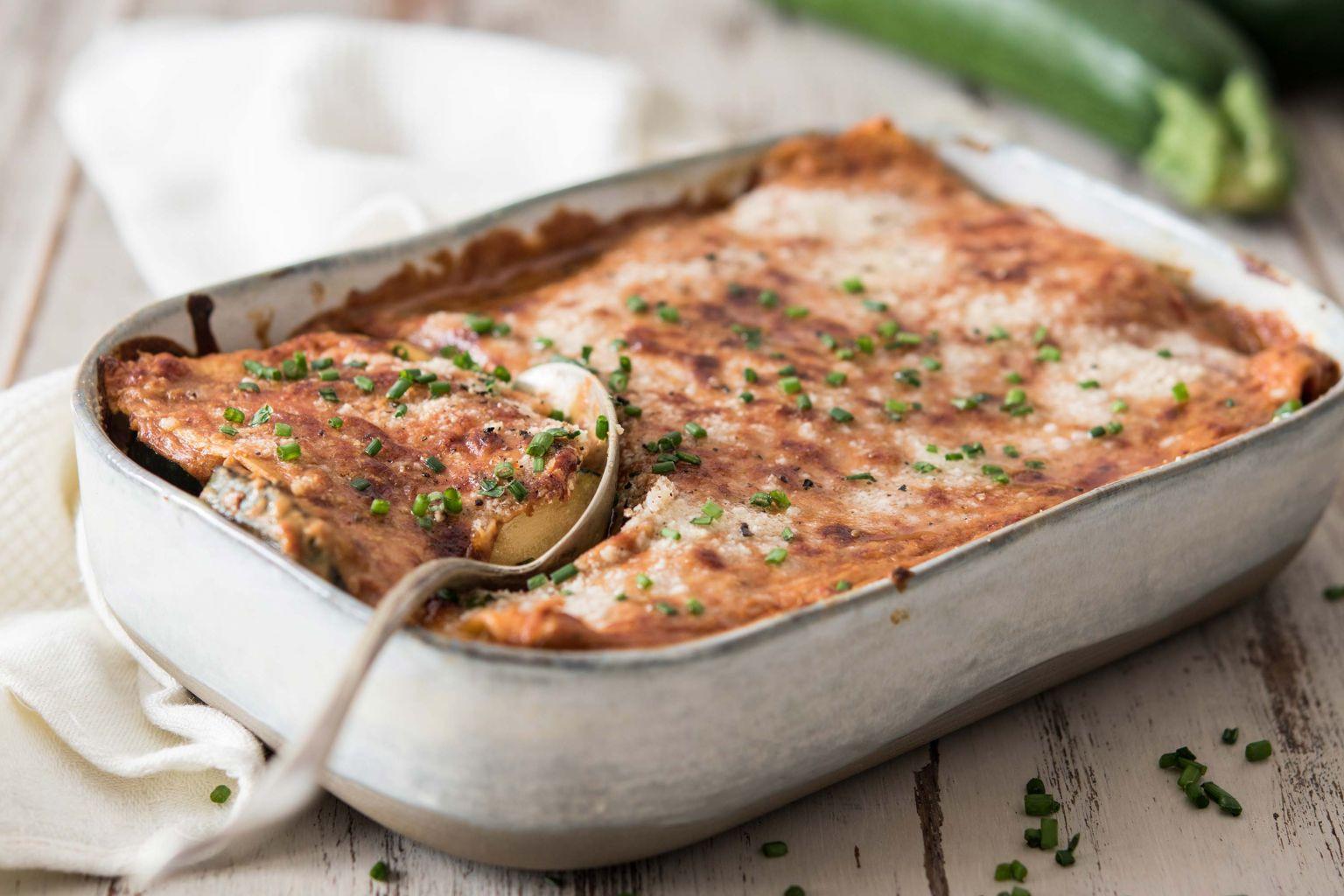 Lasagnes aux courgettes, tomates séchées et pecorino