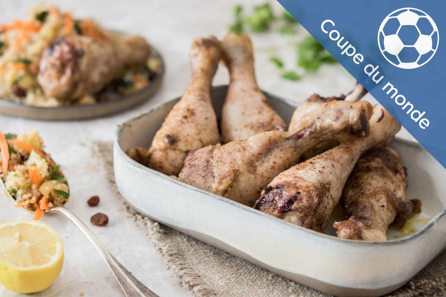Pilons de poulet à la marocaine et salade orientale