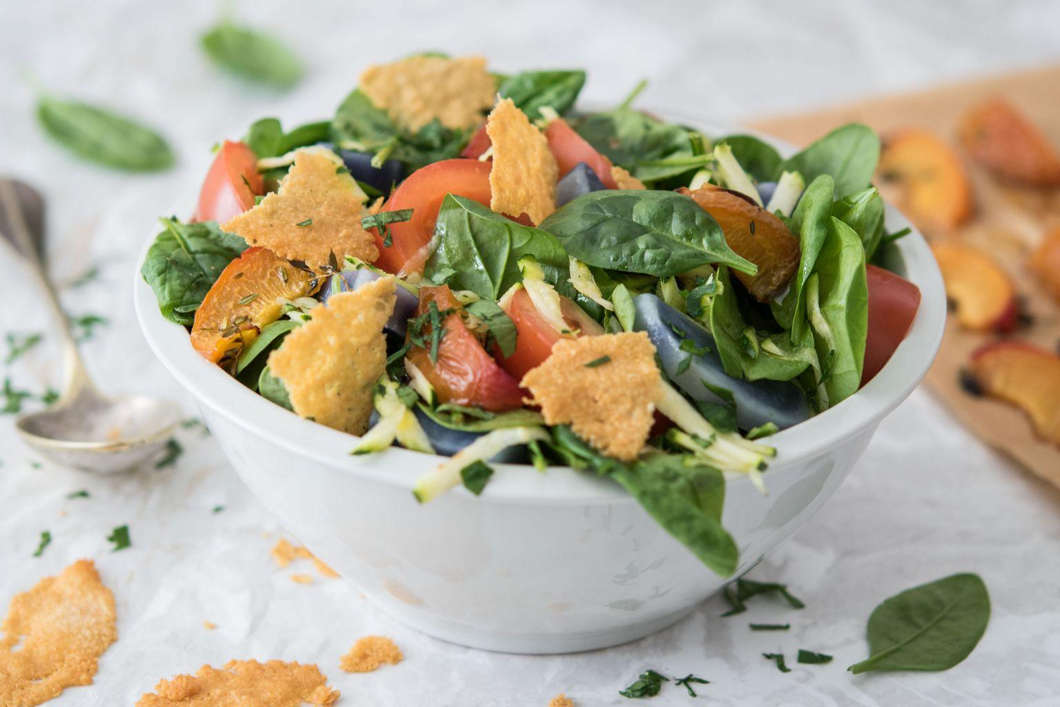 Salade croustillante de vitelottes et abricots rôtis au thym