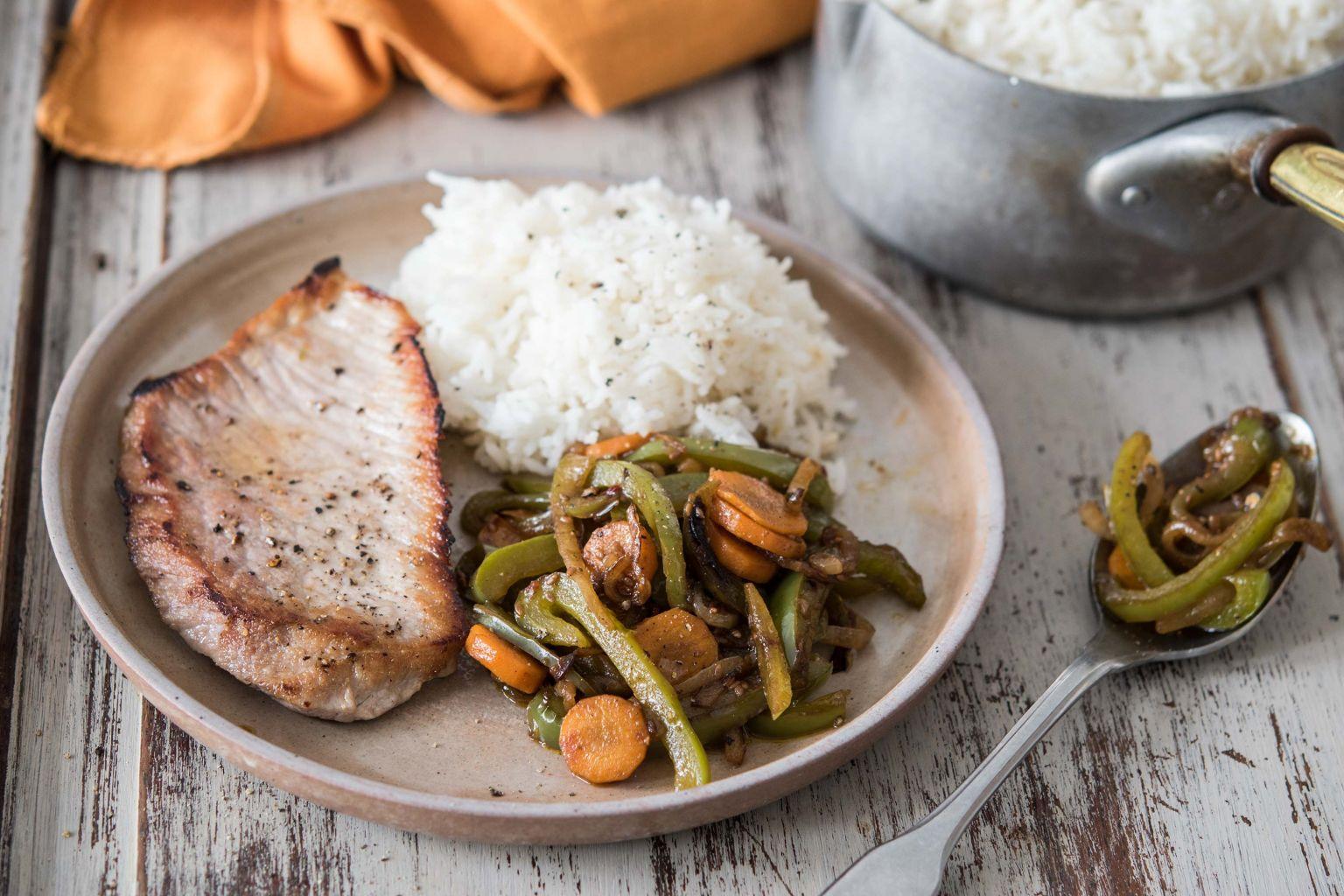 Bavettes de porc et légumes sautés à la chinoise (ail, piment et gingembre)