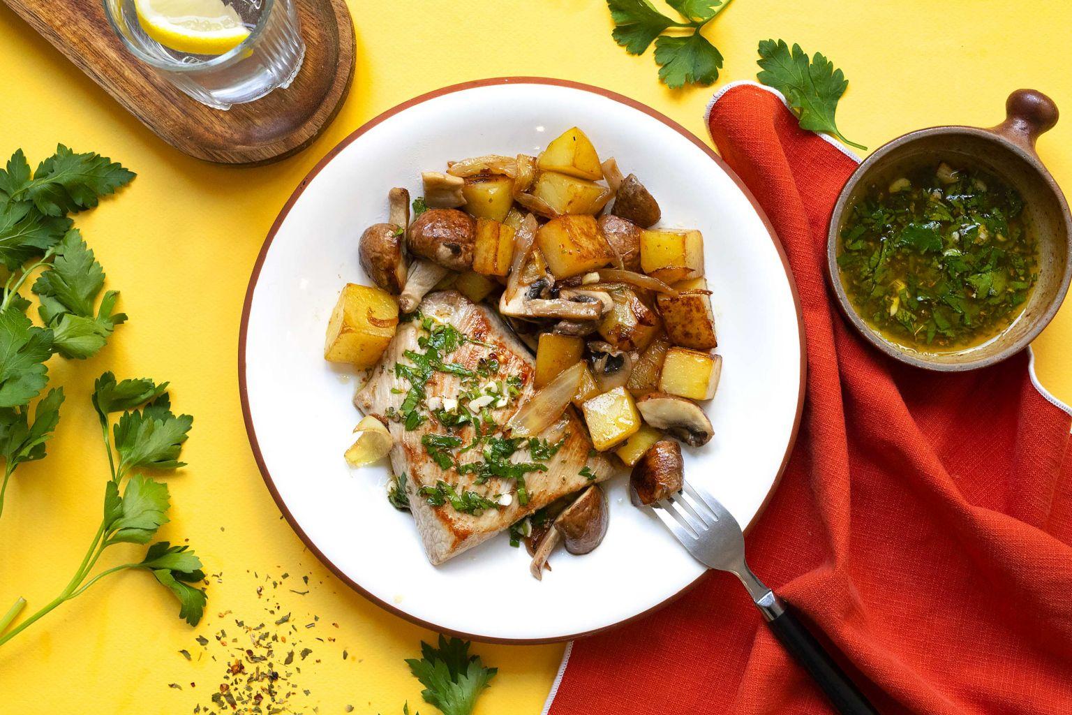 Grillade d'épaule (porc) et salsa verde aux épices chimichurri