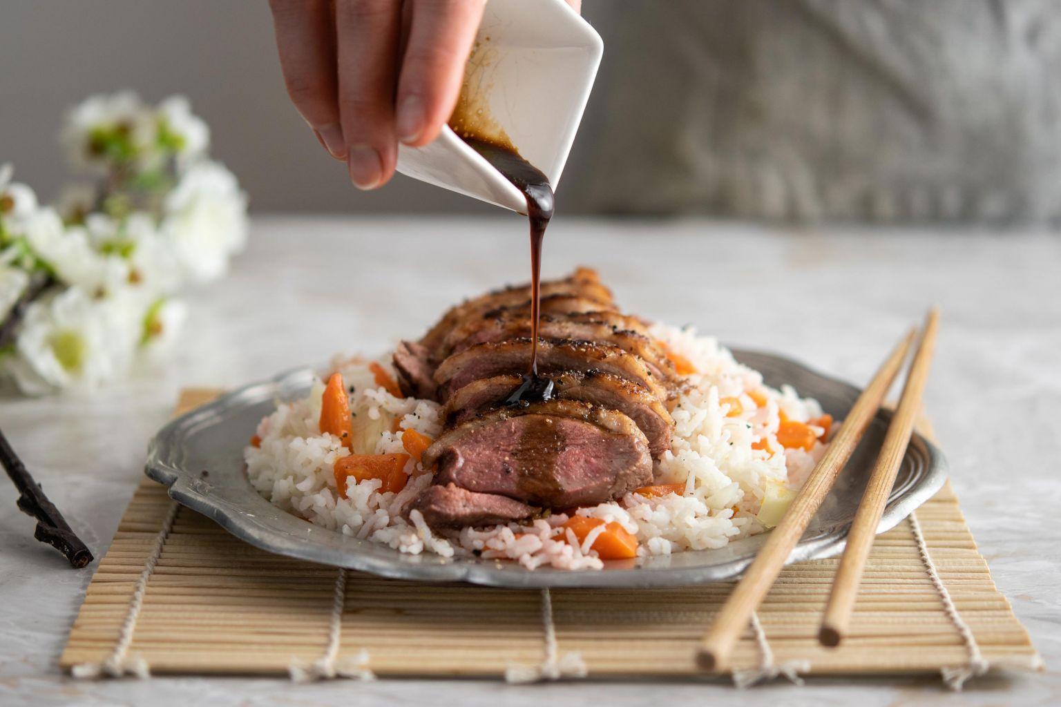 Canette laquée (au soja, vinaigre de riz et miel)
