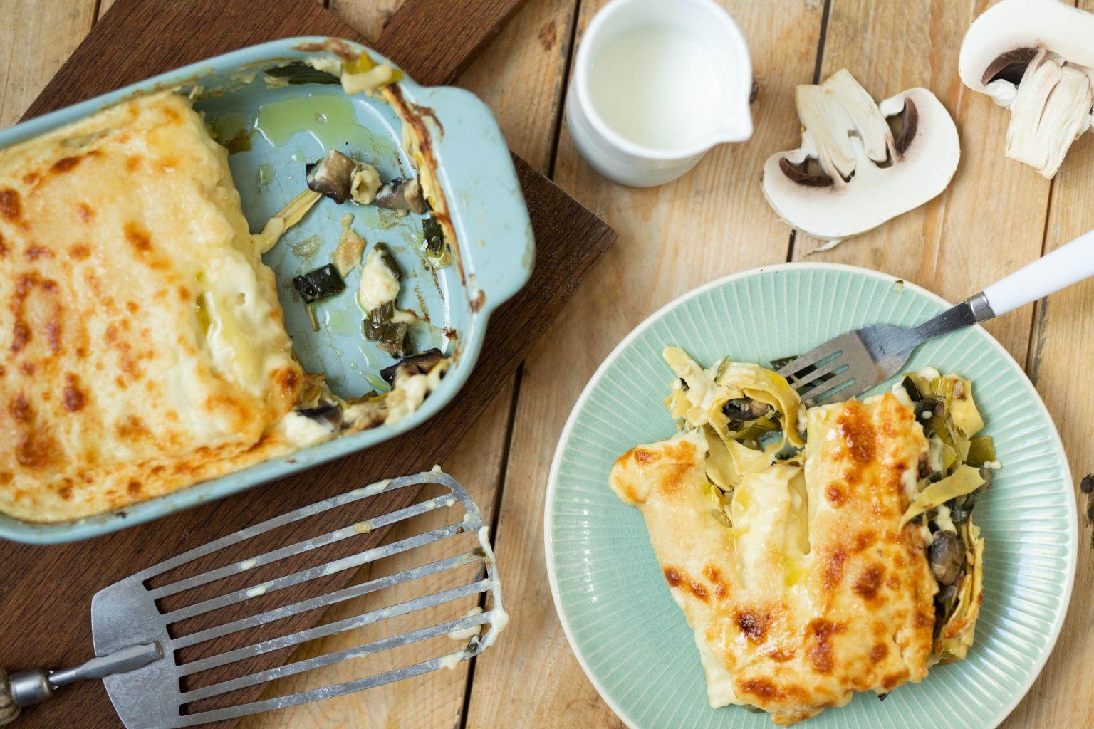 Cannelloni aux champignons Portobello et poireaux