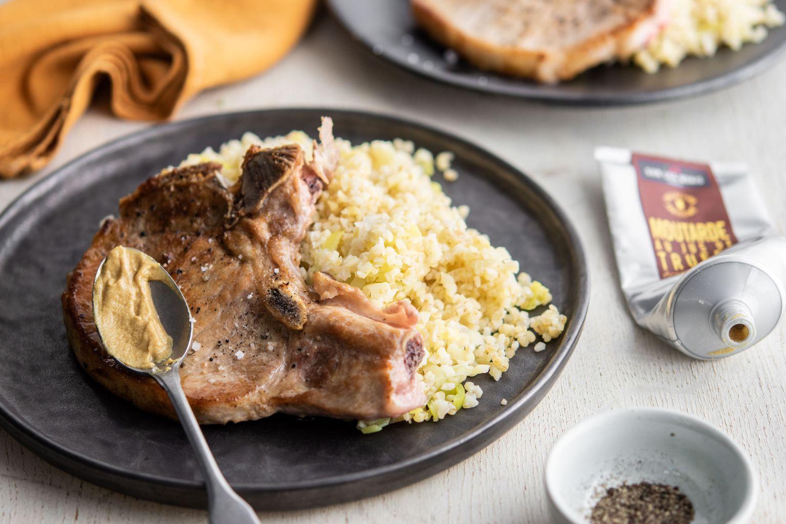 Côtes de porc à la moutarde truffée