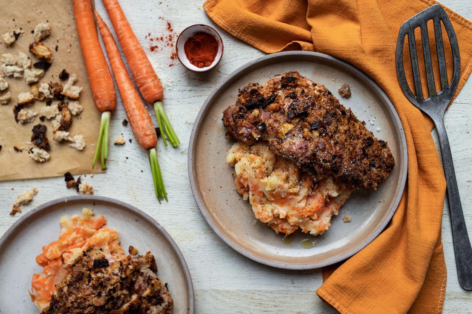 Côtes de porc en croûte de pecorino et paprika fumé