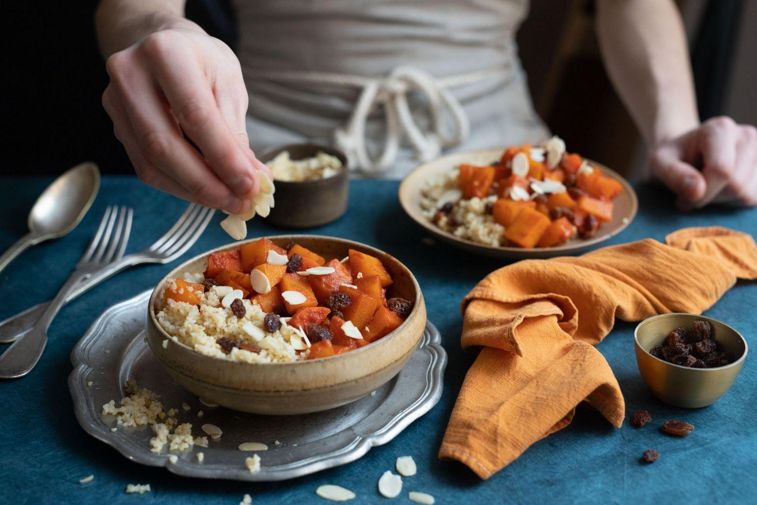 Couscous de butternut, raisins secs et amandes effilées