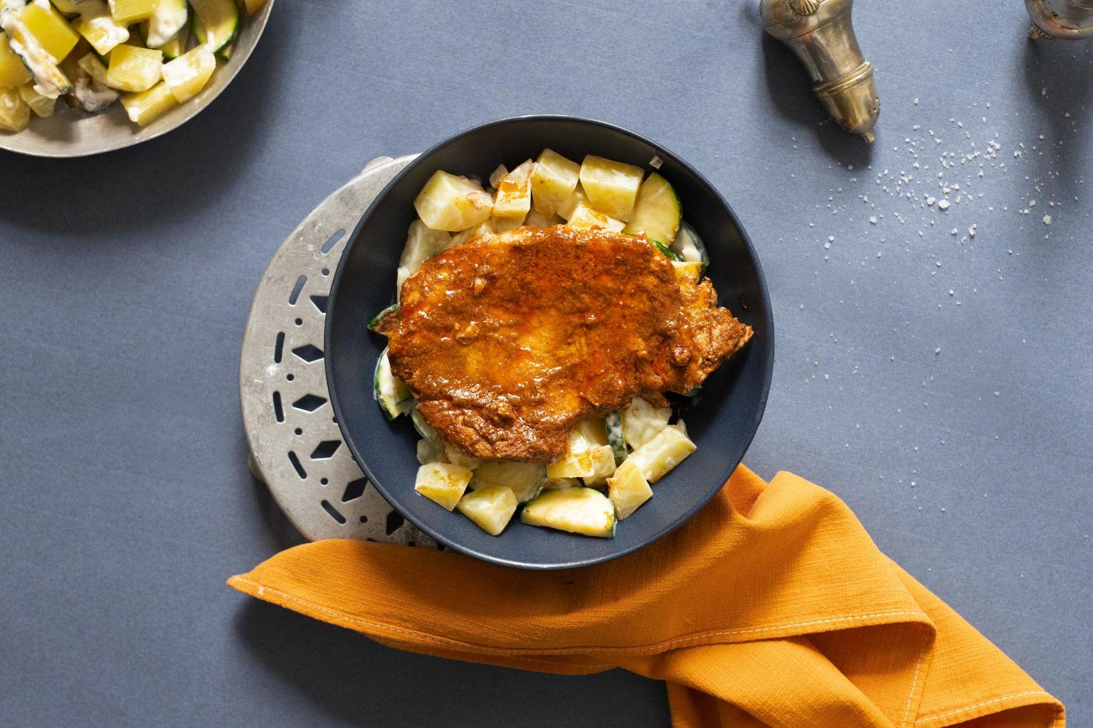 Porc tandoori tikka et salade fraîche