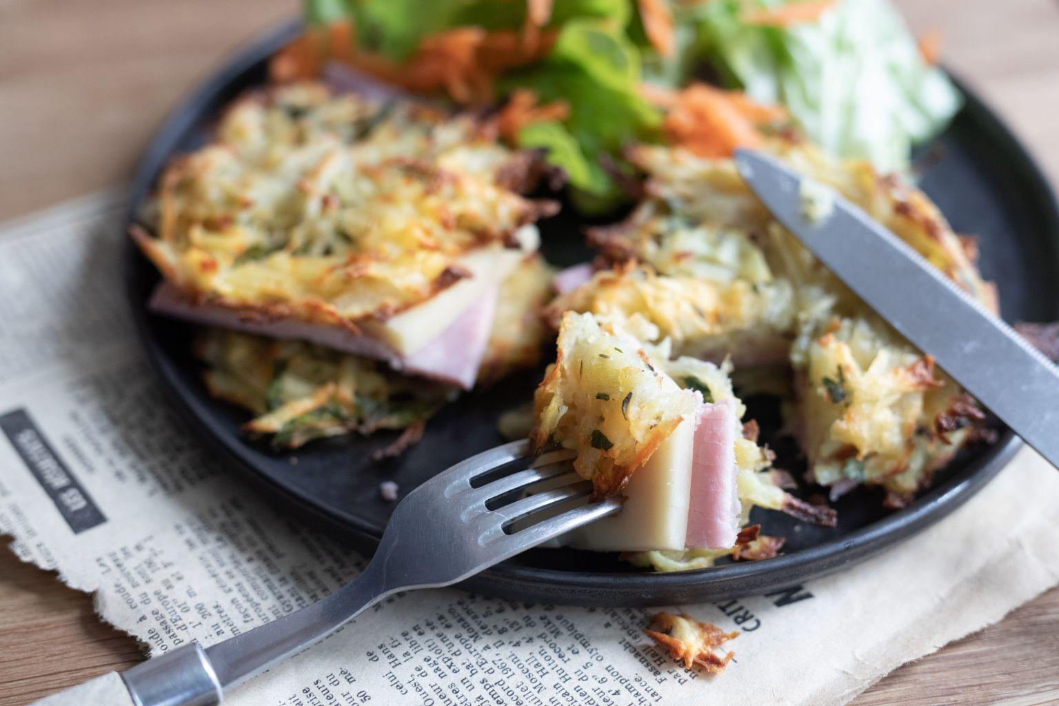 Croque-rösti à l'emmental et jambon de Paris