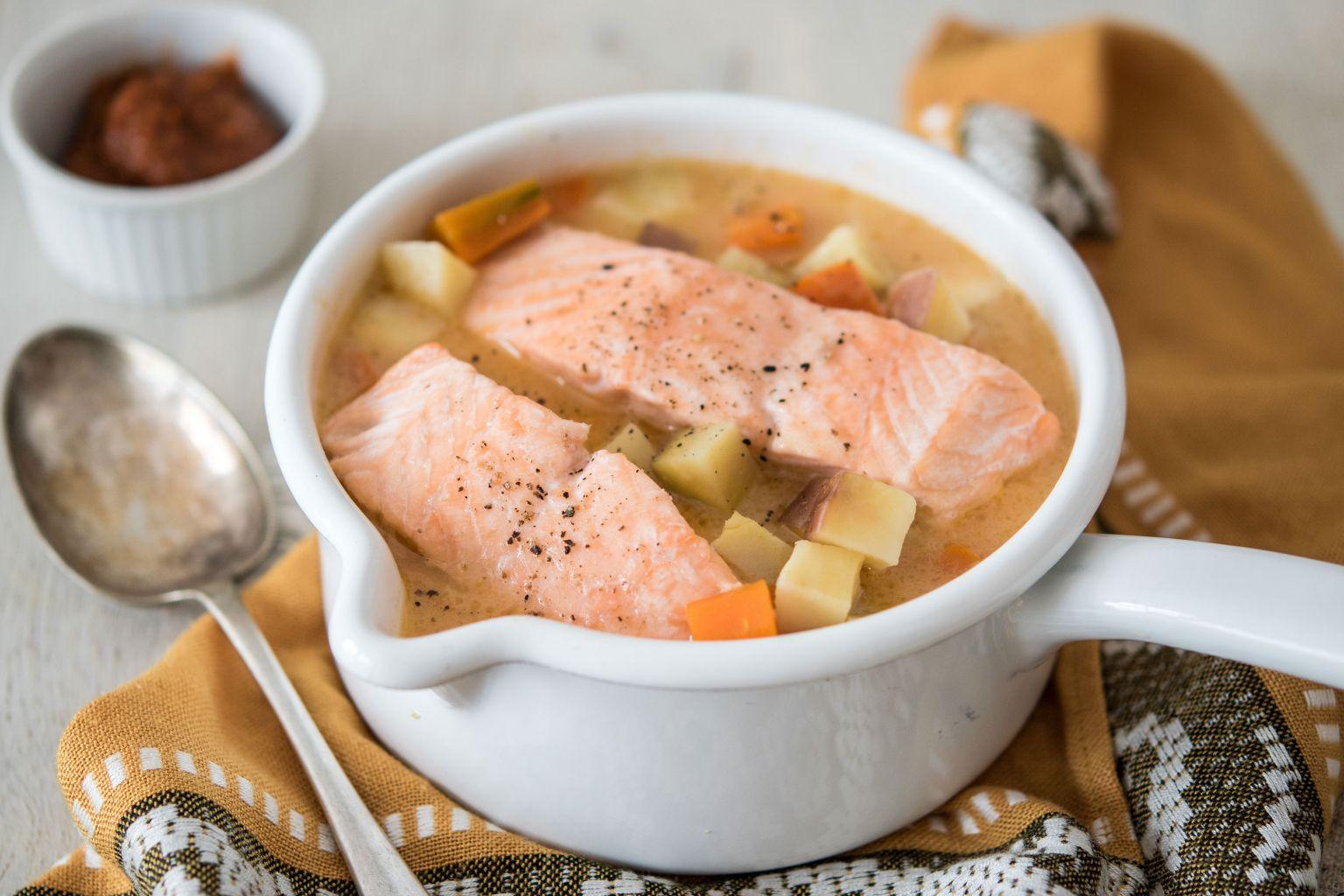 Curry rouge de saumon au lait de coco