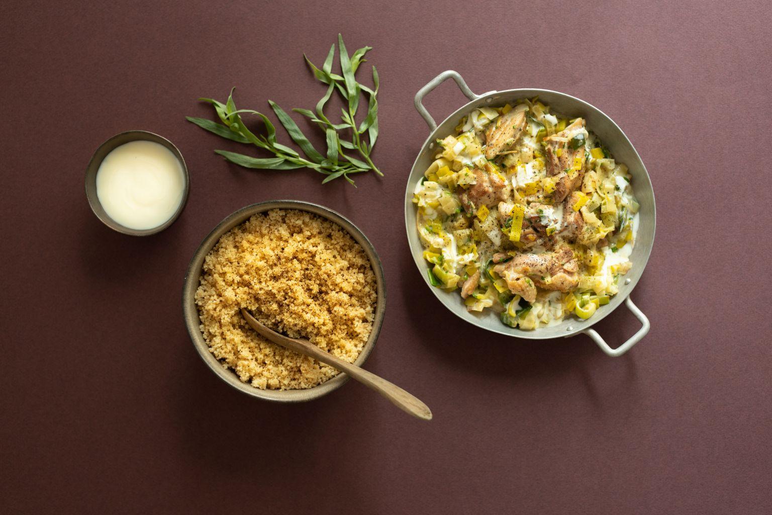 Emincé de poulet au poireau à la crème et à l'estragon