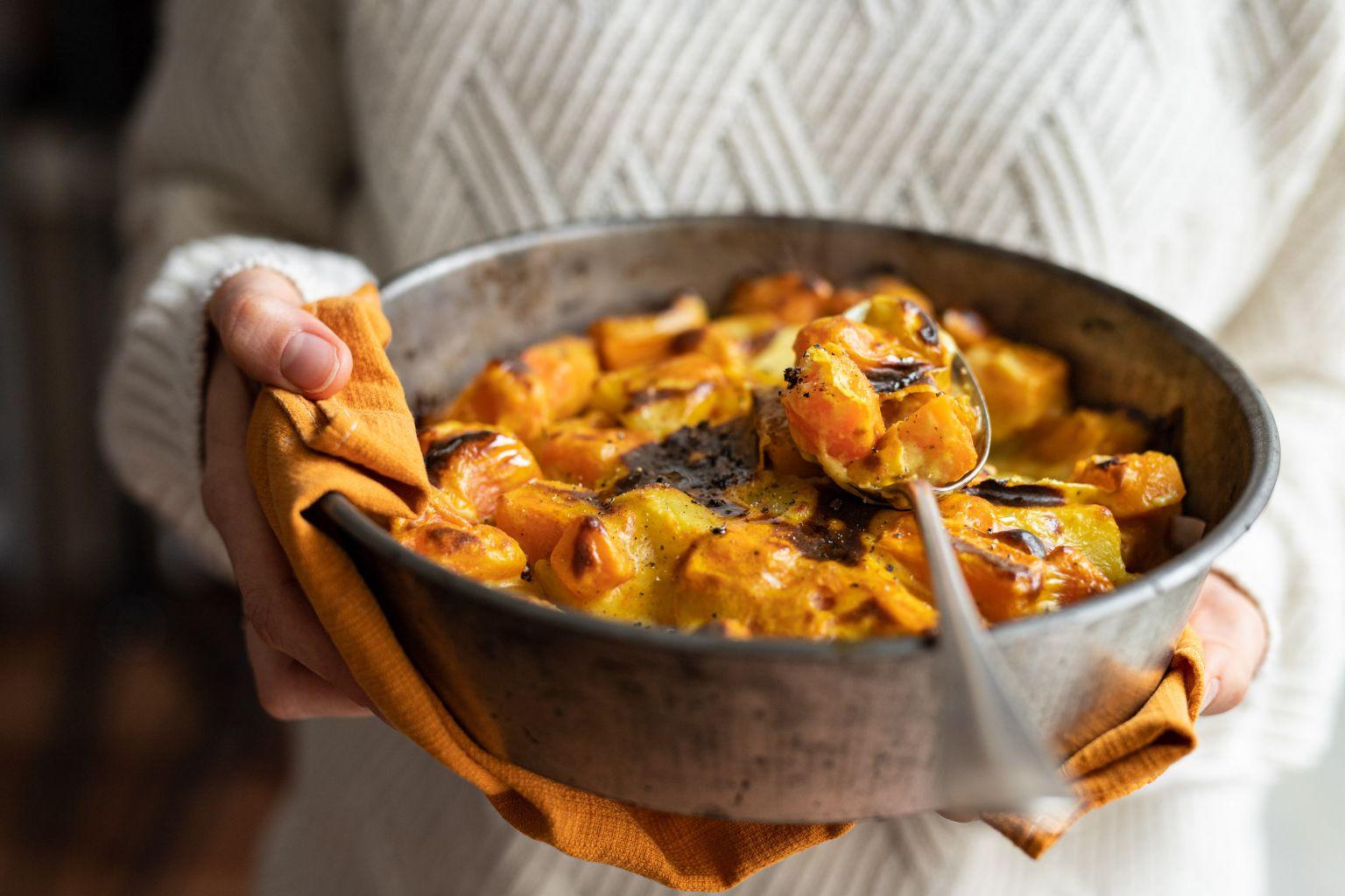 Gratin de butternut et béchamel au curry