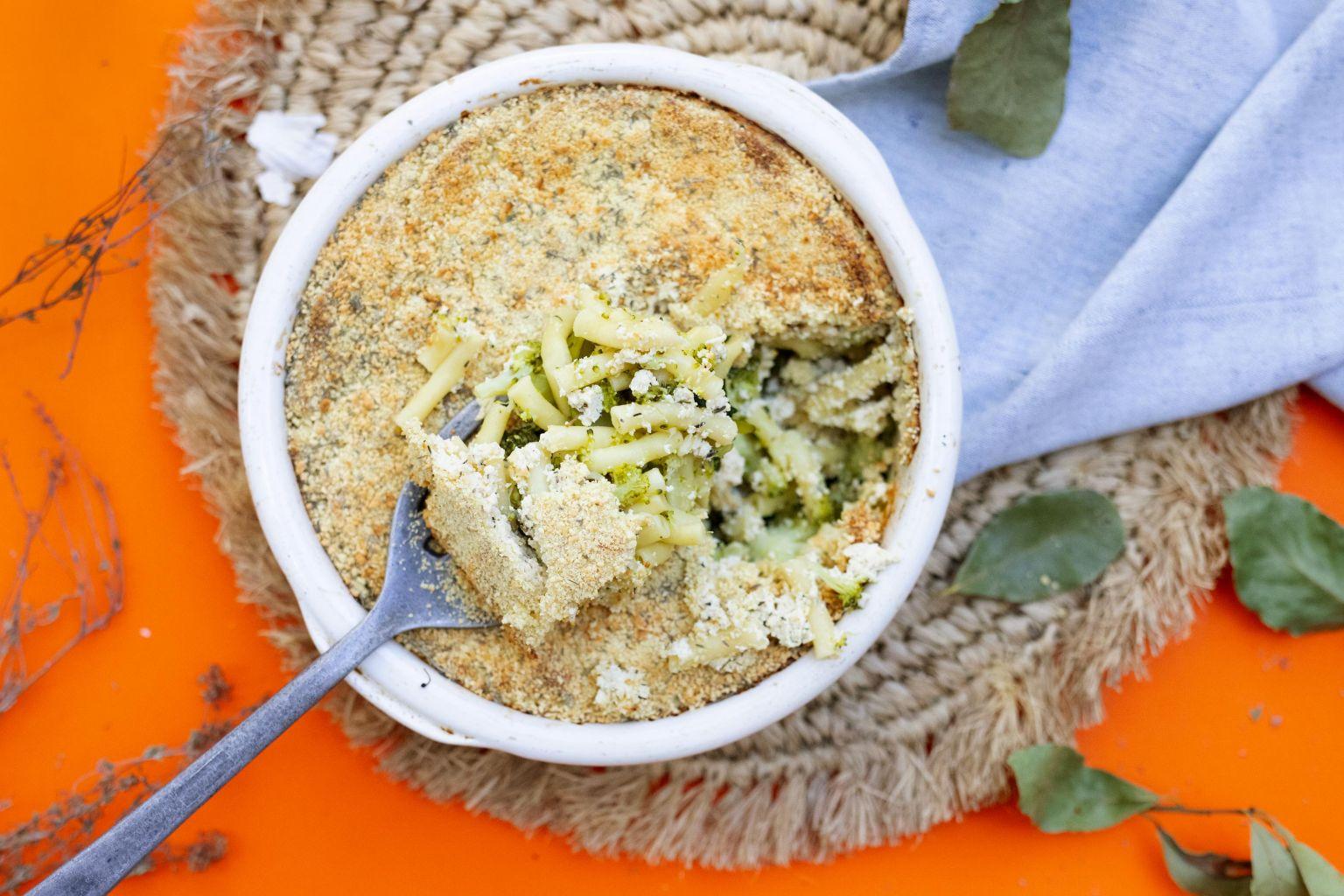 Gratin de pâtes au brocoli et tofu soyeux