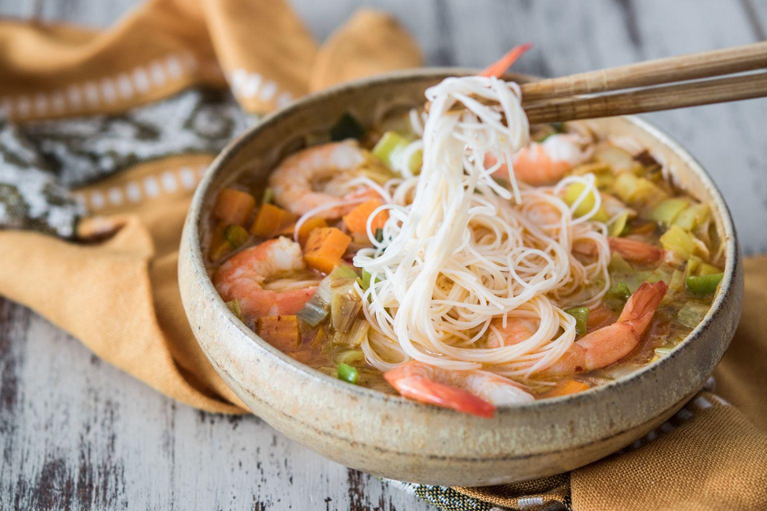Laksa de crevettes (soupe malaisienne au curry)