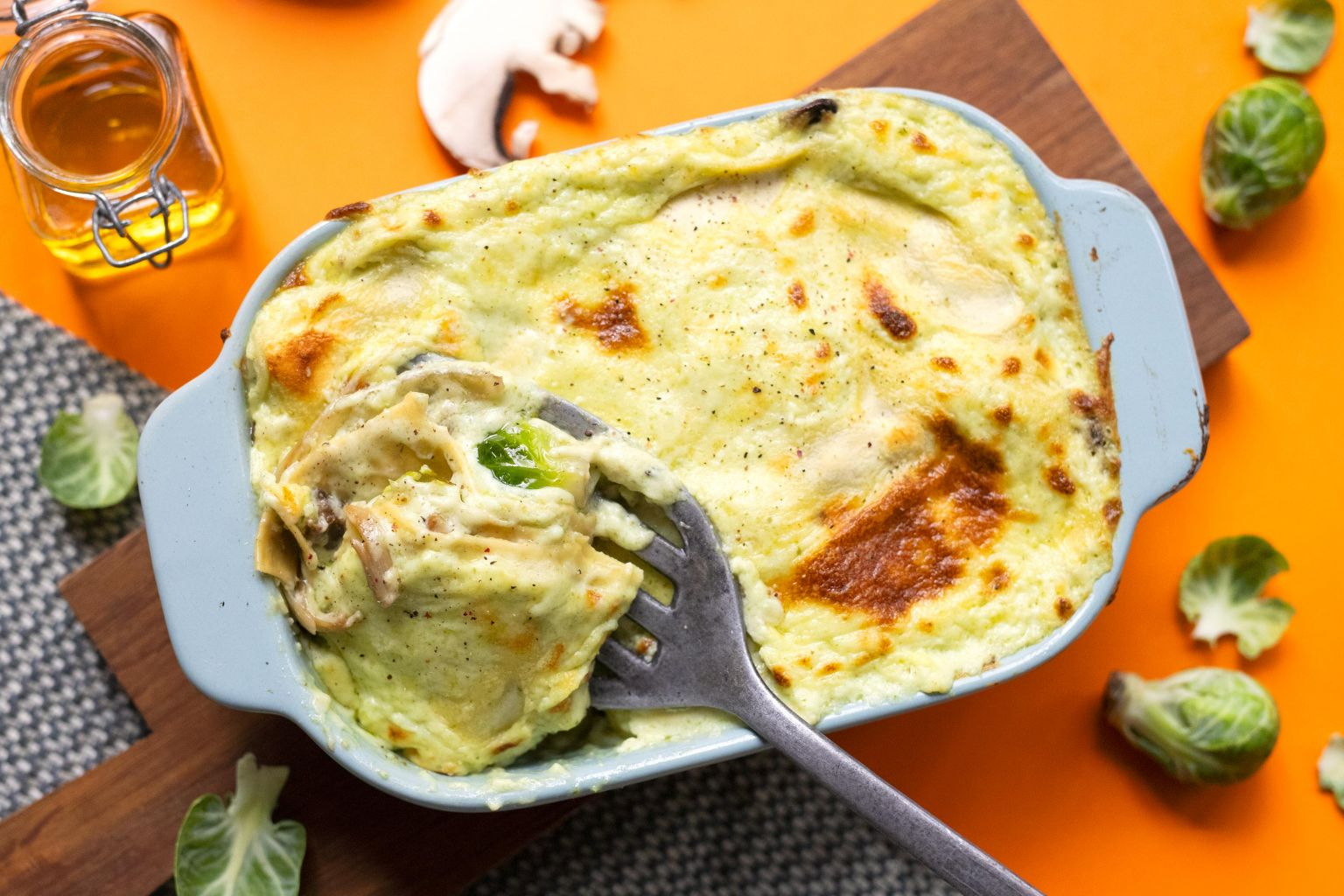 Lasagnes aux champignons, choux et crème de féta