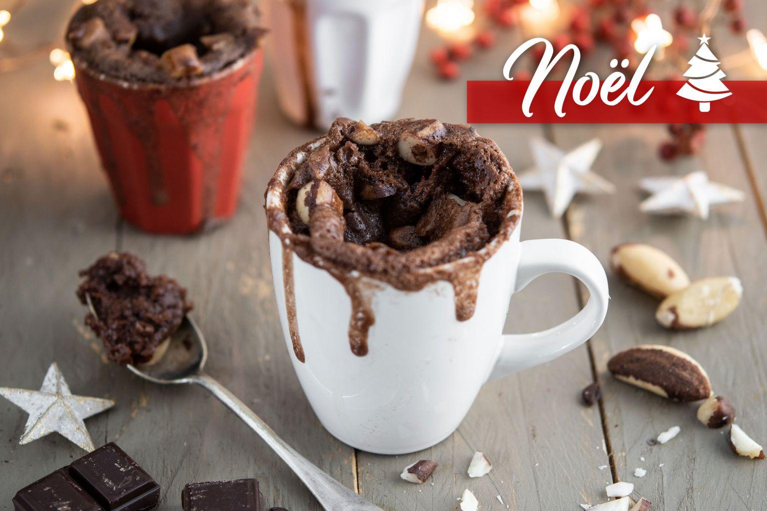 Mug cake au chocolat noir et noix du Brésil