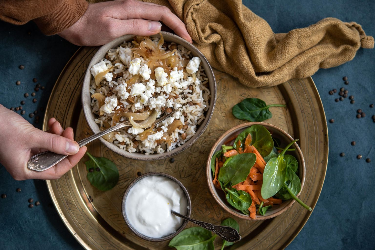 Mujaddara à la féta (riz à la libanaise)