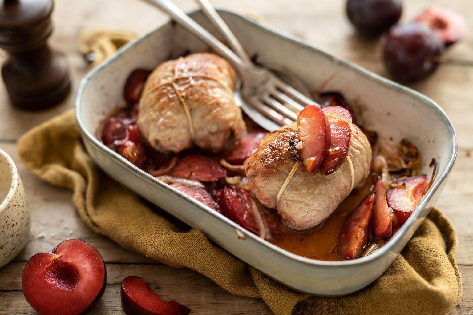 Paupiettes de dinde rôties aux prunes