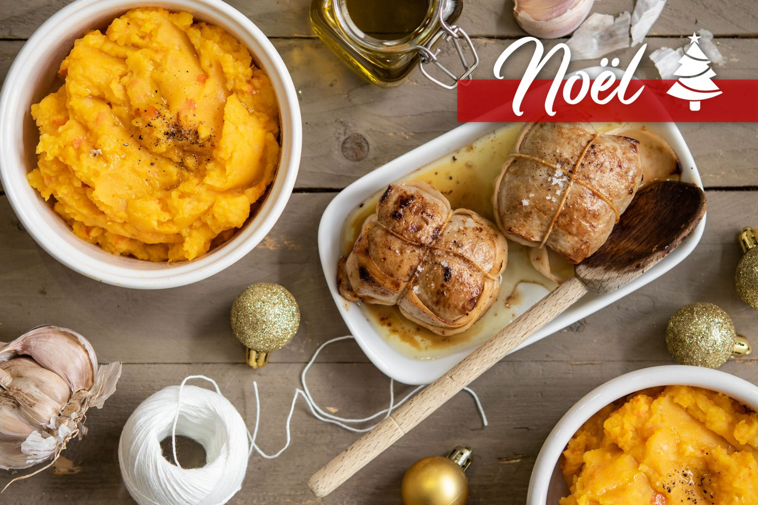 Paupiettes de dinde rôties et purée au potimarron au beurre aillé