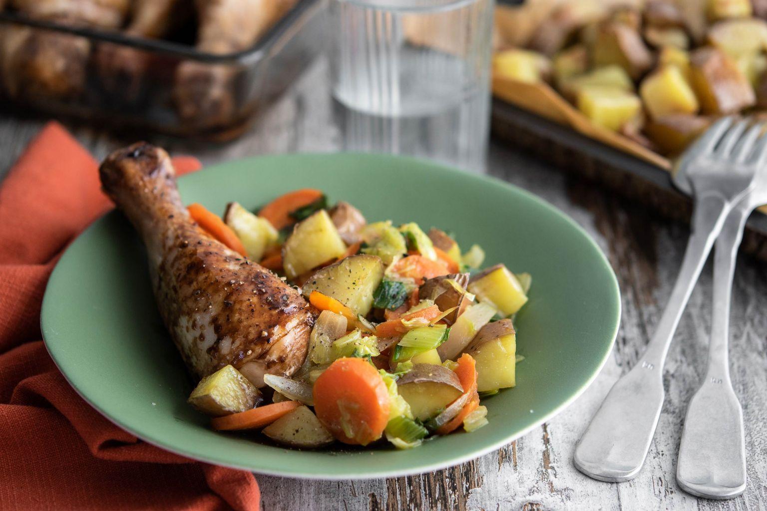 Pilons de poulet rôtis au sirop d'érable, soja et gingembre