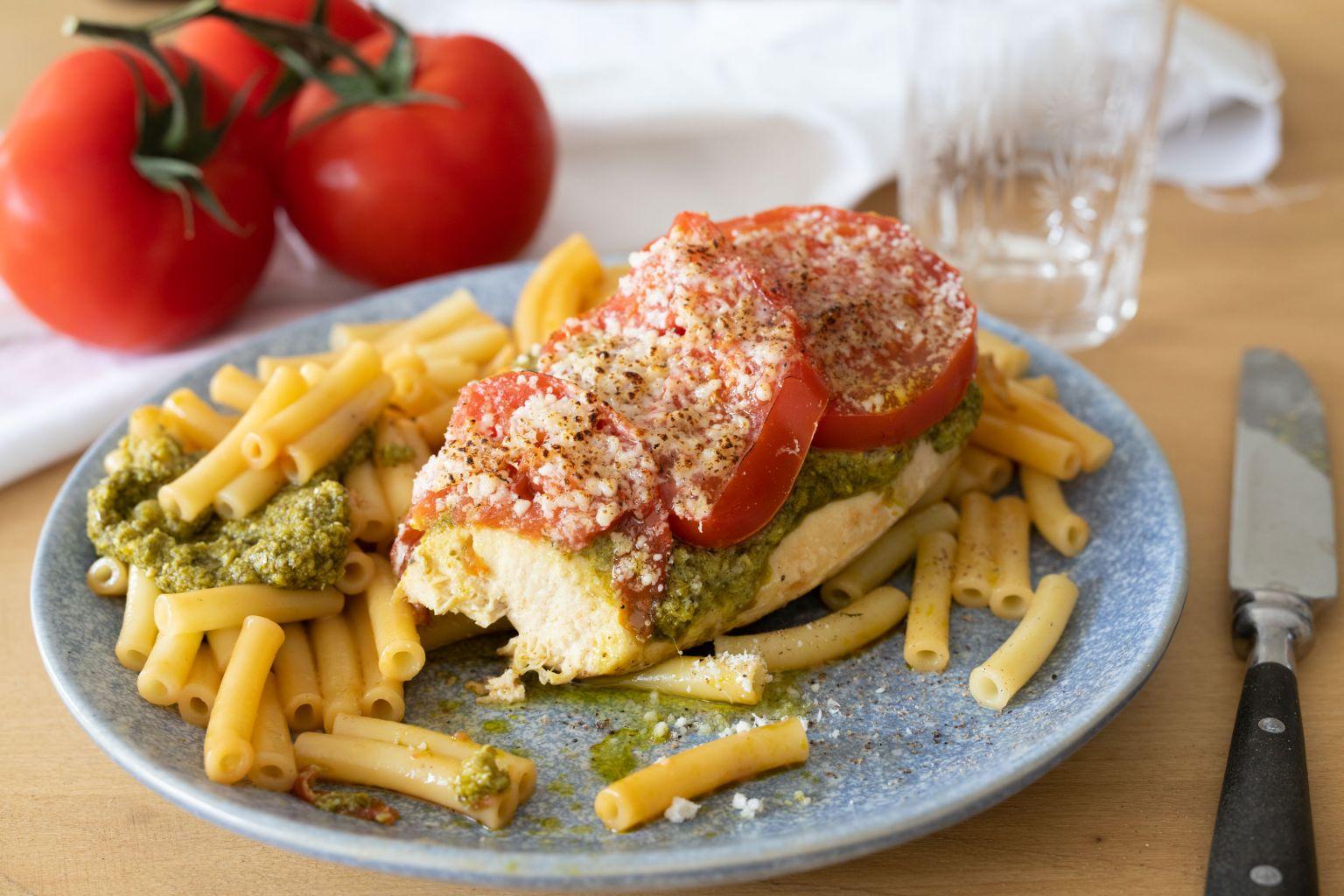 Poulet à l'italienne (pesto et tomate)