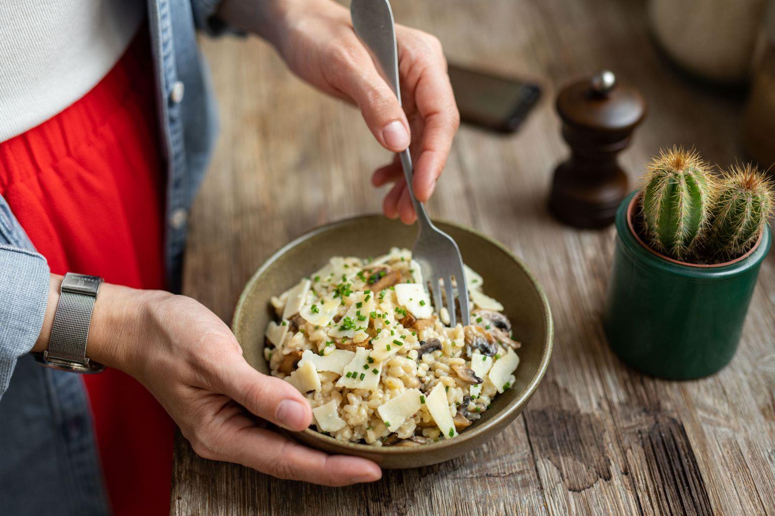 Risotto aux champignons, parmesan