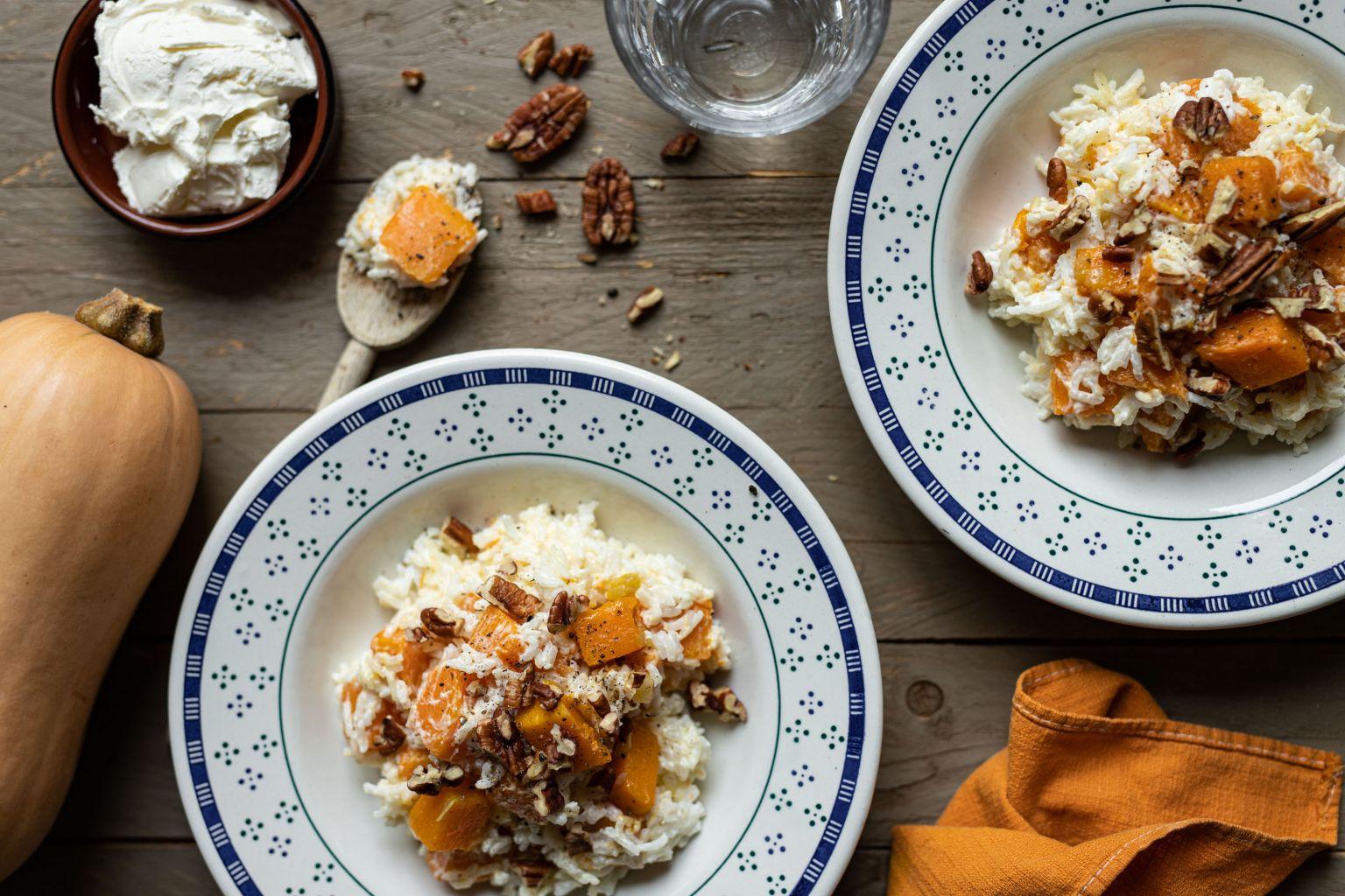 Riz crémeux à la butternut et noix de pécan
