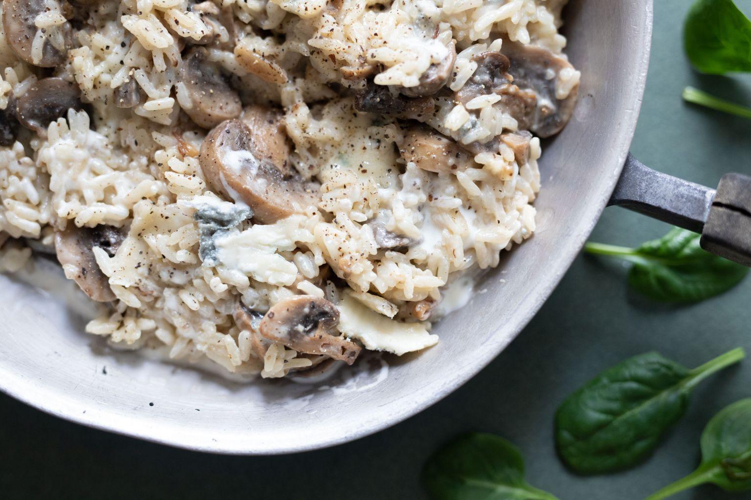 Riz crémeux aux champignons et au gorgonzola