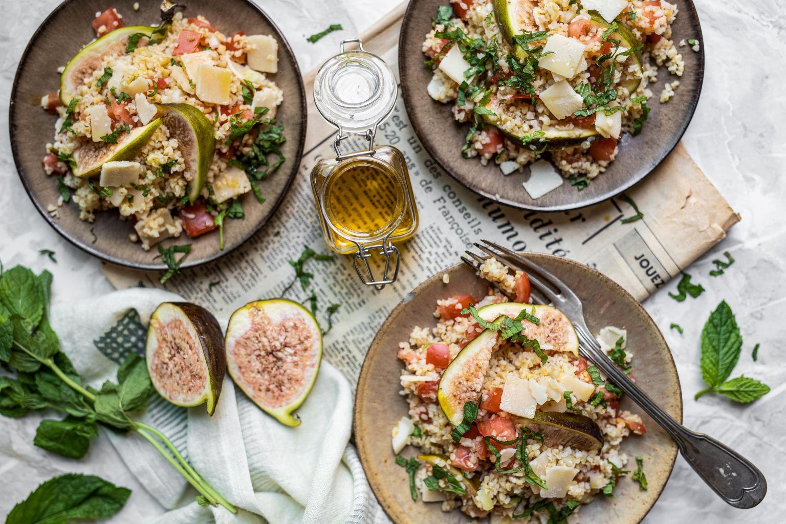 Taboulé à la figue, menthe et parmesan