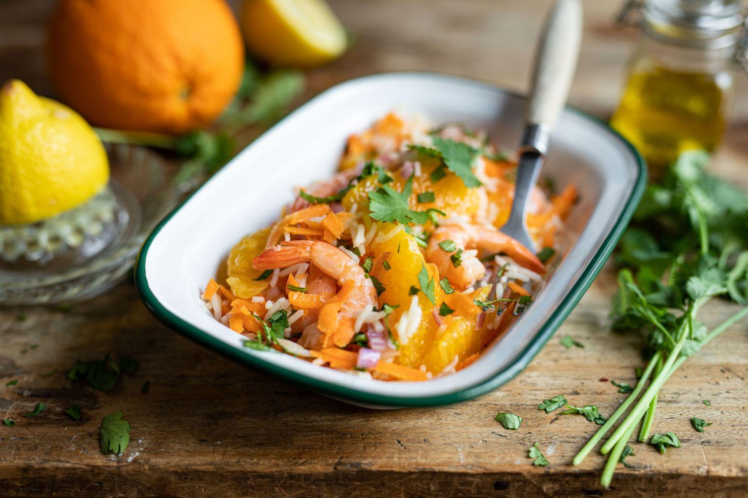 Salade de crevettes aux deux agrumes et à la coriandre