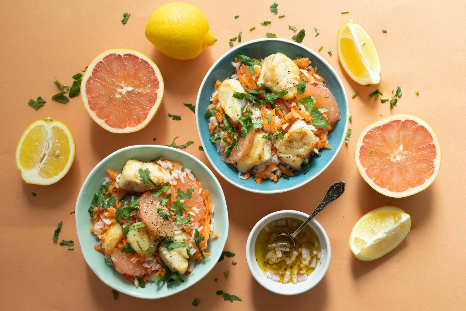 Salade de lieu noir aux deux agrumes et à la coriandre