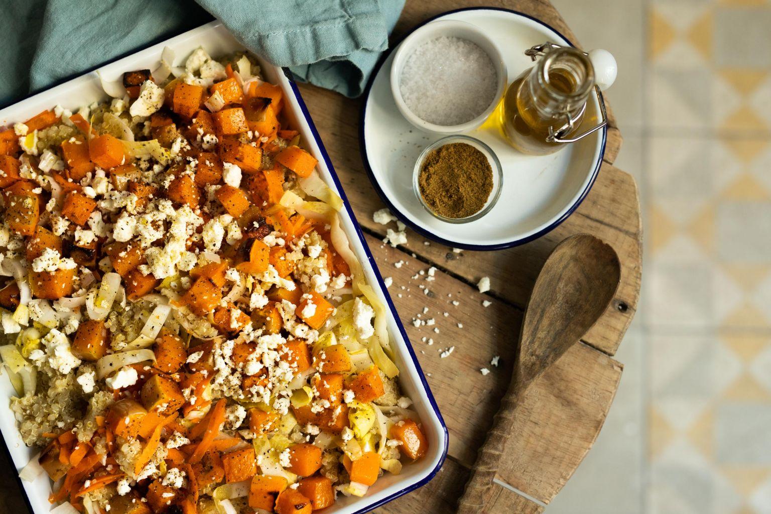 Salade de quinoa à la féta et butternut rôtie au cumin