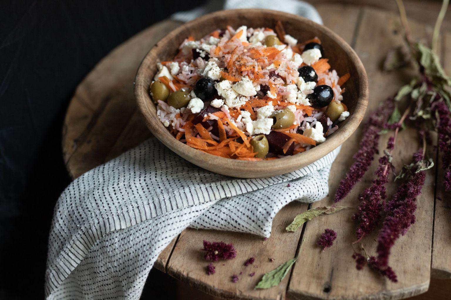 Salade d'hiver aux olives et féta AOP
