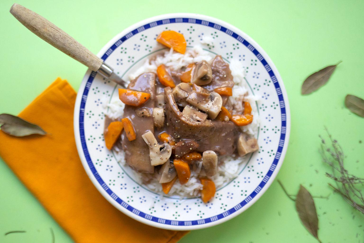 Seitan sauce grand veneur au poivre rouge de Kampot