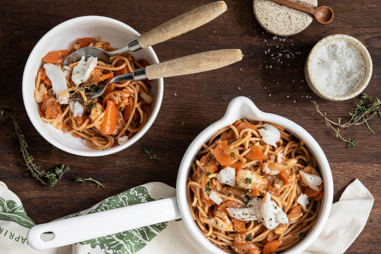 Spaghetti à la bolognaise de poisson blanc